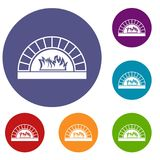 Pizza oven with fire icons set. In flat circle reb, blue and green color for web Royalty Free Stock Photo