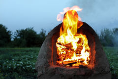 Pizza oven with flame Stock Photos