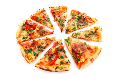 Pizza over white Royalty Free Stock Photography