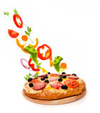 Pizza over white Royalty Free Stock Image