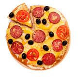 Pizza over white Royalty Free Stock Photos