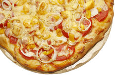 Pizza over white background with copy space Stock Images