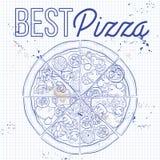 Pizza på en anteckningsboksida Arkivfoto
