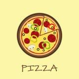 Pizza på träbrädet vektor illustrationer