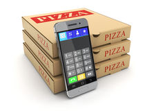Pizza package and mobile phone Royalty Free Stock Photo