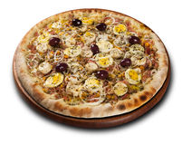 Pizza Palmetto, on wooden board on white background. Stock Photo