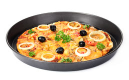 pizza   in   pan Stock Photo