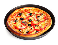 Pizza in pan isolated on white Royalty Free Stock Images