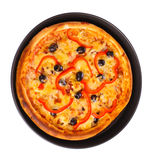 Pizza in pan isolated on white. Pizza in pan over the white Royalty Free Stock Images