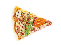 Pizza. Part of classical pizza with colorful stuffing Royalty Free Stock Photos