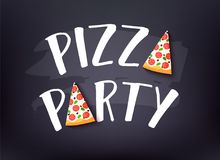 Pizza Party banner with text and slice of pizza on dark background. Vector card.  stock illustration