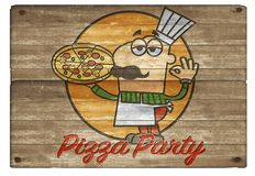 Pizza Party Cartoon Man Art Board Logo Invitation. Wooden plaque hand carved colorful pepperoni mushroom pie royalty free illustration