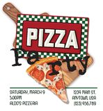 Pizza Party Invitation Fun. Pizza Party Invitation with Italian Style Tin Sign pizza slice and cutting board pepperoni mushroom royalty free illustration