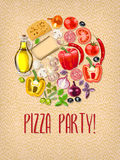 Pizza party. Invitation with ingredients for pizza Royalty Free Stock Image