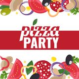 Pizza Party template banner with pizza ingredients vector illustration