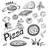 Pizza, pasta Fotografie Stock