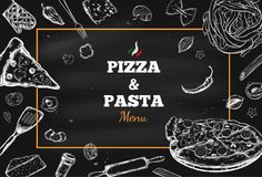 Pizza and Pasta vector frame 1 royalty free illustration