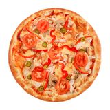 Pizza with pastrami, mushrooms, pepper and cucumber isolated on white.  stock photography