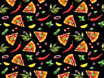 Pizza pattern on black background Stock Photography