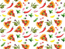 Pizza pattern on white Stock Photography