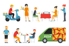 Pizza People in a interior flat icons set. Pizzeria conceptual web vector illustration. Royalty Free Stock Photo
