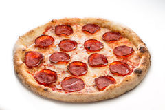 Pizza peperoni close up isolated on white . Salami mouthwatering Stock Image