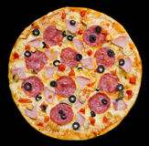 Pizza with peperoni, mushrooms and ham, isolated Royalty Free Stock Photography