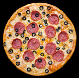 Pizza with peperoni and olives, clipping path Stock Photos