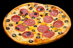 Pizza with peperoni and olives, isolated Royalty Free Stock Photography