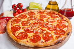 Pizza Peperroni Diavola Salamy Stock Photo