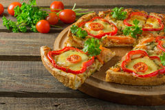 Pizza with pepper and chicken Royalty Free Stock Photo