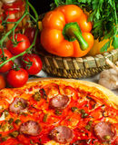 Pizza and pepper Royalty Free Stock Photos