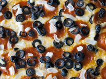 Pizza, Pepperoni, Black Olives, Onions Royalty Free Stock Photo