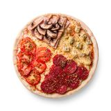 Pizza with pepperoni, champignons, tomato and cheese. Four tastes in one pizza on white background. Photo for the menu stock photo