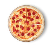 Pizza pepperoni. Image of a pizza on a white background. Stock Photo