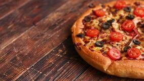 Pizza pepperoni with mozzarella cheese, tomato sauce and salami stock video