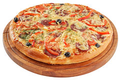 Pizza pepperoni. Pizza with pepperoni, mozzarella, peppers and tomatoes royalty free stock photos