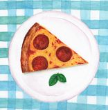 Pizza pepperoni on a plate stock illustration