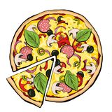 Pizza pepperoni with slice stock illustration
