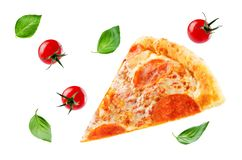 Pizza with pepperoni, tomato sauce and cheese isolated royalty free stock photography