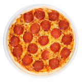 Pizza pepperoni from the top Stock Image