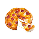 Pizza with pepperoni, watercolor illustration Vector Illustration