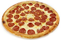 Pizza pepperoni. Pizza on the white background Stock Photo