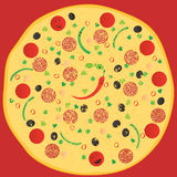 Pizza. With peppers and olives Stock Image