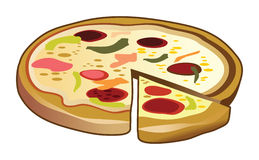 Pizza picante com pepperoni Fotografia de Stock Royalty Free