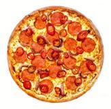 Pizza piccante del drago con la salsiccia Fotografia Stock