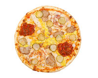 Pizza with pickles, pork, cheese, egg yolk, and chilli sauce, is. Olated on white Royalty Free Stock Photography