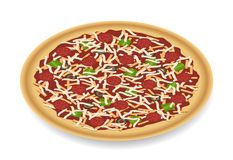 Pizza Pie on White Stock Photography