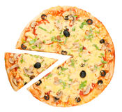 Pizza and piece royalty free stock images