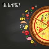 Pizza pieces on the chalkboard with ingredients. Flat style, background vector illustration vector illustration